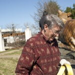 Monte Paddleford, owner of Eagle Bronze Foundry in Lander, Wyo., where the golden tiger was cast, works with other crew members to secure Brenau's new mascot sculpture into place.