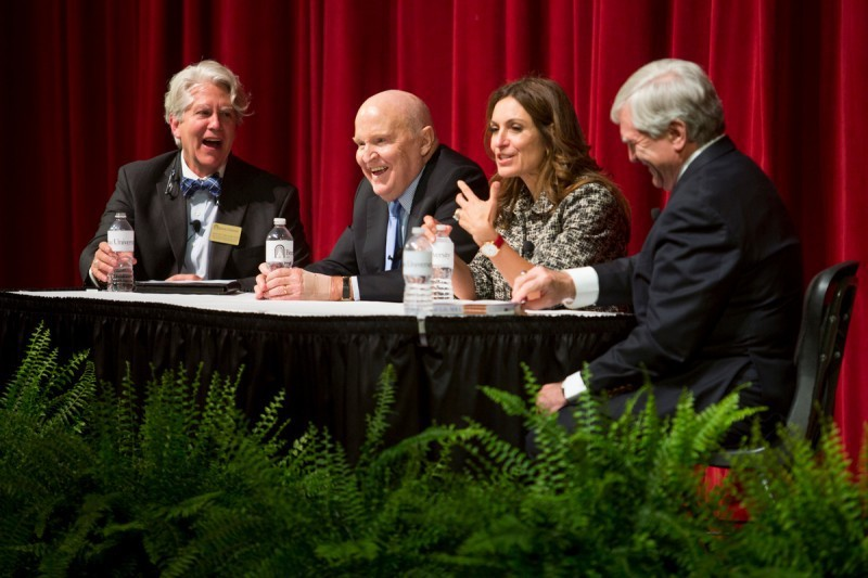 Miller, left, participated in last spring's program in Pearce Auditorium with former GE CEO Jack Welch, his wife Suzy, and Brenau President Ed Schrader.