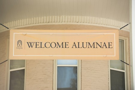 A sign welcomes alumnae to the Champagne Brunch during Alumnae Reunion Weekend. (Barry Williams for Brenau University)