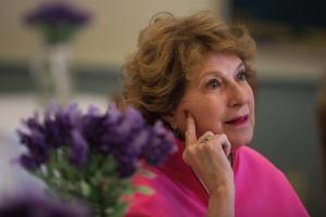 Paula Lamotte McCutchen, WC '67, listens as a friend talks during the Back to Campus Luncheon. (AJ reynolds/Brenau University).