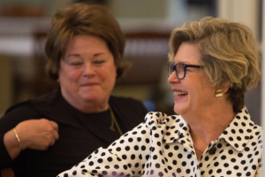 Jennie Caldwell, , WC '67, laughs during the Back to Campus Luncheon. (AJ Reynolds/Brenau University)