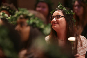 Rebeca Arevalo watches the Class of 2017 presentation during the 2017 Alumnae Reunion Weekend at Brenau University, Saturday, April 08, 2017. (Photo/ John Roark for Brenau University)